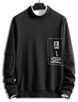 Popular Graphic Letter Printed Casual Sweatshirt   Black M by Zaful