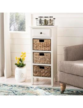 Michaela Distressed White Storage Side Table by Safavieh