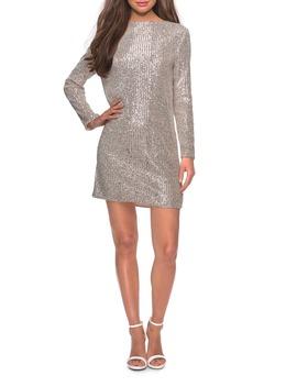 Long Sleeve Sequin Stripe Cocktail Shift Dress by La Femme