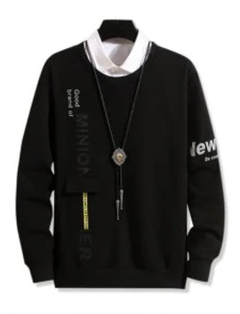 Popular Sale Pocket Design Letter Print Casual Sweatshirt   Black M by Zaful
