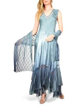 Charmeuse & Chiffon Maxi Dress With Shawl by Komarov