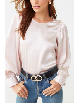 Satin Billowy Sleeve Top by Forever 21