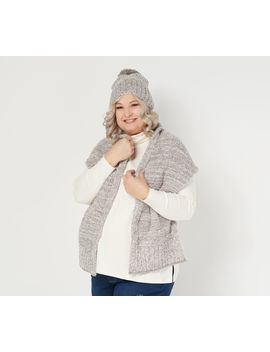 Barefoot Dreams Cozy Chic Pom Pom Beanie And Scarf Set by Barefoot Dreams