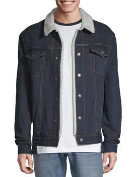 George Men's And Big Men's Sherpa Lined Denim Jacket, Up To Size 5 Xl by George