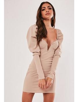 Sand Milkmaid V Bar Mini Dress by Missguided