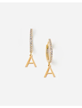 Tess + Tricia Gold Initial Huggie Earrings by Express