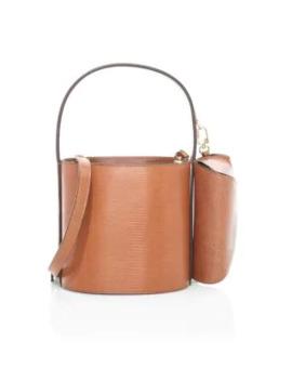 Bissett Lizard Embossed Leather Bucket Bag by Staud