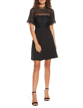 Lace Bodice Mock Neck Fit & Flare Dress by Chelsea28