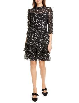 Met Nuage Metallic Dot Ruffle Silk Blend Dress by Rebecca Taylor