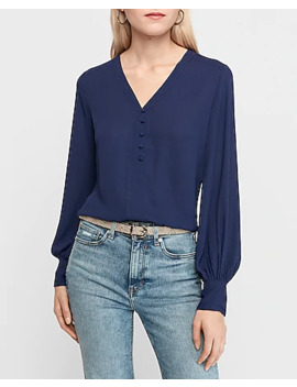 Button Front Blouson Sleeve Shirt by Express