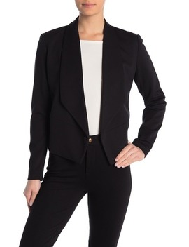 Lapel Cropped Open Front Jacket by Philosophy Apparel