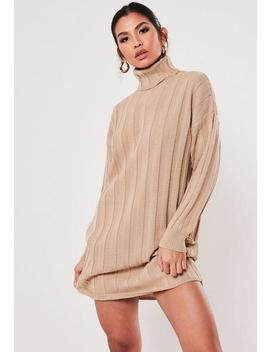 Tan Extreme Rib Roll Neck Jumper Dress by Missguided