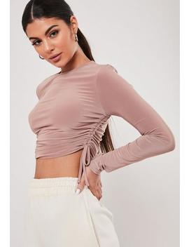 Nude Slinky Ruched Side Top by Missguided