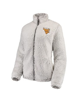 Women's Heathered Gray West Virginia Mountaineers Sherpa Full Zip Jacket by Unbranded