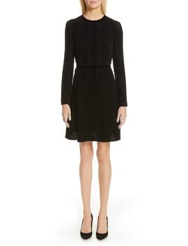 Long Sleeve Textured Velvet Dress by Emporio Armani