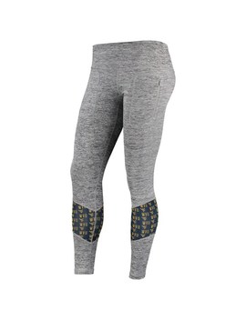 Women's Zoo Zatz Gray West Virginia Mountaineers Vitalize Color Mesh Insert Pocketed Leggings by Unbranded
