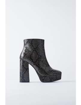 Animal Print Platform Heeled Ankle Boots by Zara