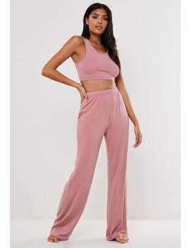 Pink Scoop Neck Cropped Pyjama Set by Missguided
