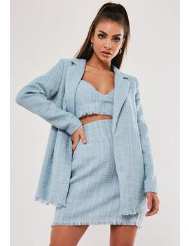 Baby Blue Co Ord Boucle Oversized Blazer by Missguided