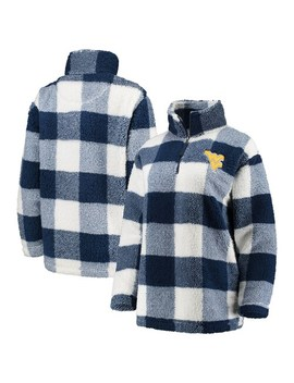 Women's Navy/White West Virginia Mountaineers Plaid Sherpa Quarter Zip Pullover Jacket by Unbranded