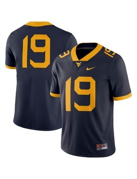 Men's Nike #19 Navy West Virginia Mountaineers Game Jersey by Nike