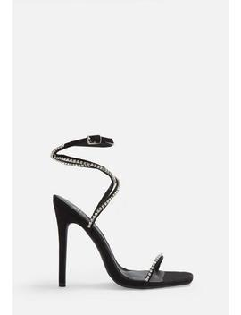 Black Faux Suede Diamante Strap Heels by Missguided