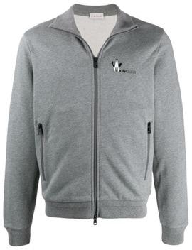 Logo Print Zip Up Sweatshirt by Moncler