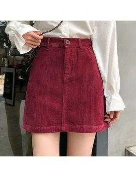 Shopherd   Corduroy Plain A Line Skirt by Shopherd