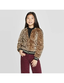Girls' Faux Fur Animal Bomber Jacket   Art Class™ Brown by Art Class