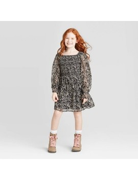 Girls' Long Sleeve Smocked Woven Dress   Art Class™ Black by Art Class