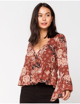 Ivy & Main Button Front Rust Womens Babydoll Top by Tilly's