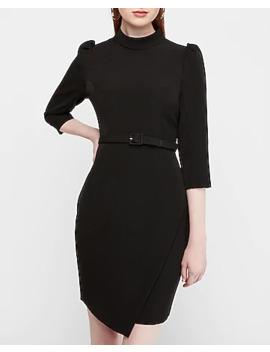 Belted Mock Neck Puff Sleeve Mini Sheath Dress by Express