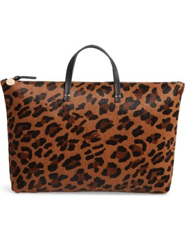 Leopard Print Genuine Calf Hair Tote by Clare V.
