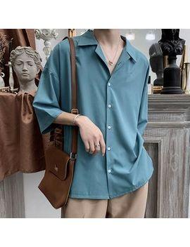 Jun.Lee   Elbow Sleeve Plain Shirt by Jun.Lee