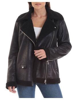 Avec Les Filles Sherpa Perfecto Faux Leather Biker Jacket by Avec Les Filles