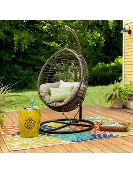 Brown Resin Wicker Basket Egg Chair Swing & Stand Outdoor Home Furniture Porch by Brayden