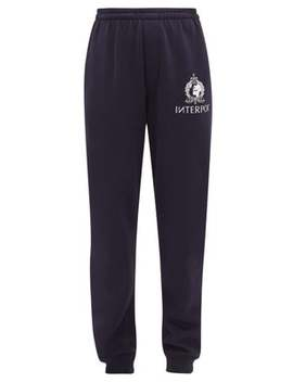 Interpol Print Cotton Blend Jersey Track Pants by Vetements