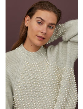 Beaded Wool Blend Sweater by H&M