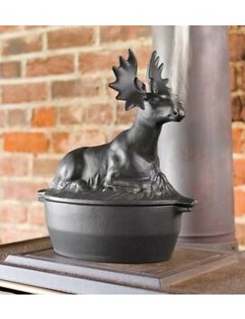 3 Quart Cast Iron Moose Design Wood Stove Steamer Kettle / Humidifier by Plow & Hearth
