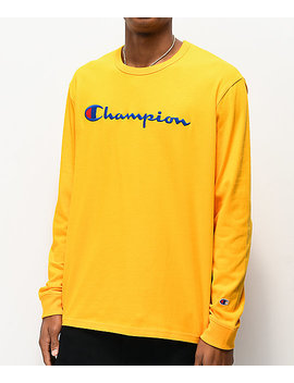 Champion Full Chest Emblem Gold Long Sleeve T Shirt by Champion