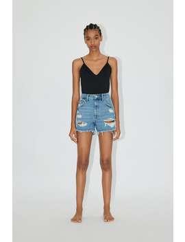 Hi Rise Ripped Denim Shorts by Zara