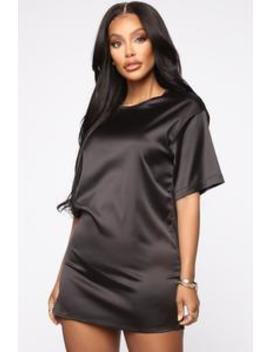 Rachel Oversize Satin Tshirt   Black by Fashion Nova
