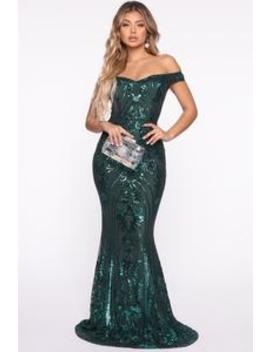Show Up And Show Out Sequin Mermaid Gown   Emerald by Fashion Nova