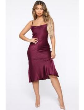Crossing You Out Midi Dress   Wine by Fashion Nova