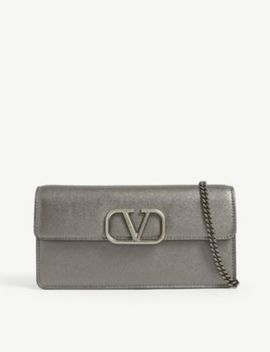 V Sling Metallic Leather Wallet On Chain by Valentino