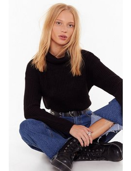Turn Knit On Turtleneck Cropped Sweater by Nasty Gal