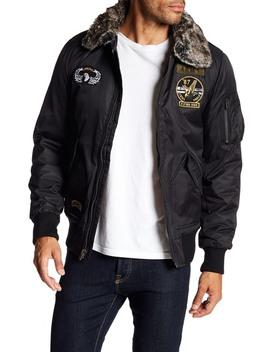 Faux Fur Trim Patch Embellished Flight Jacket by Xray