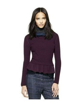 Tory Burch Ramona Peplum Purple Wool Sweater Size Medium by Tory Burch