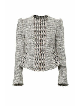 Rebecca Taylor Black Pink Women's Size 8 Tweed Collarless Jacket $550  #003 by Rebecca Taylor