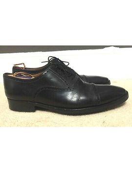 Santoni Oxfords Shoes Black Leather Cap Toe Mens Size 12 by Santoni